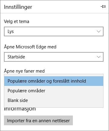 Microsoft Edge-innstillinger for å vise fanen Min Office 365