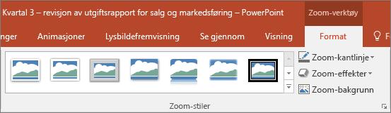 Viser forskjellige zoom-stiler og -effekter som du kan velge i Format-fanen i PowerPoint.