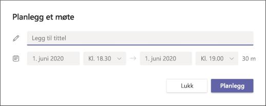 Planlegge et møte skjerm bilde