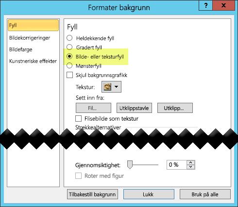 Dialogboksen Formater bakgrunn