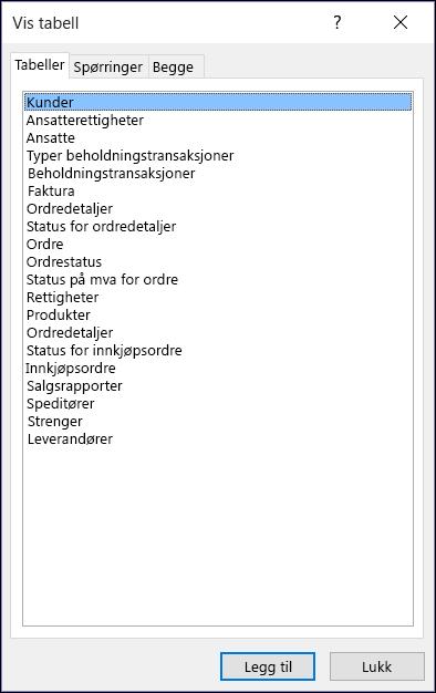 Dialogboksen Vis tabell i Access som viser tabellnavn