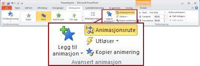 Avansert animasjon-gruppen på Animasjon-fanen på båndet i PowerPoint 2010.