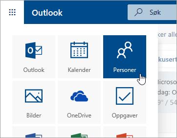 Et skjermbilde av Personer-flisen i startprogrammet for apper