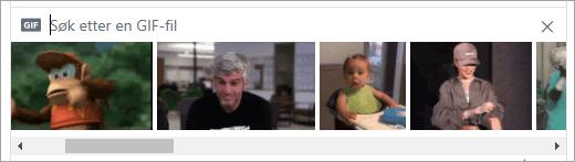 Liste over tilgjengelige GIF-er
