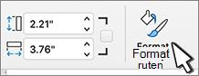 Formater rute-knappen valgt