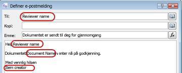 E-postmelding som uthever de potensielle områdene for innsetting av oppslag