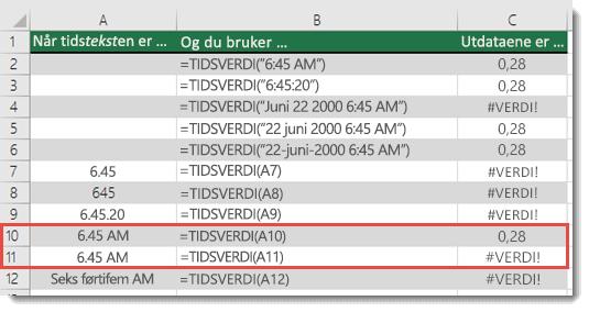 Utdata for ulike TIDSVERDI-funksjoner