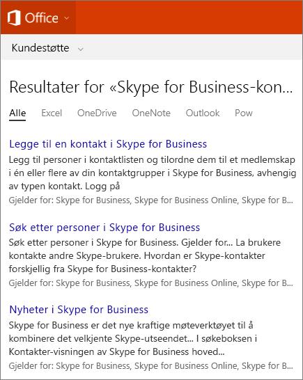 Skjermbilde av resultatene av et søk etter Skype For Business-kontakter på nettstedet for Office Kundestøtte.