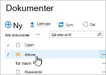 SharePoint-2016 dokumentbibliotek med mappen uthevet