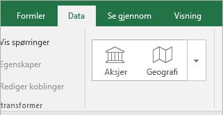 Knapper for datafane, aksjer og geografi