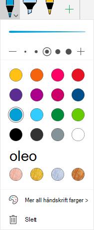Hånd skrift farger og effekter for tegning med hånd skrift i Office på Windows Mobile