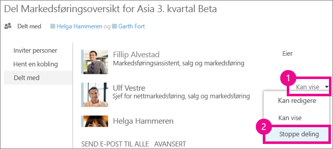 Kommandoen Stopp deling i Del-vinduet i OneDrive for Business