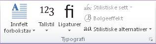 Typografi-gruppen i Publisher 2010
