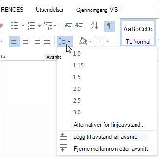 Linje- og avsnittsavstand skjermen