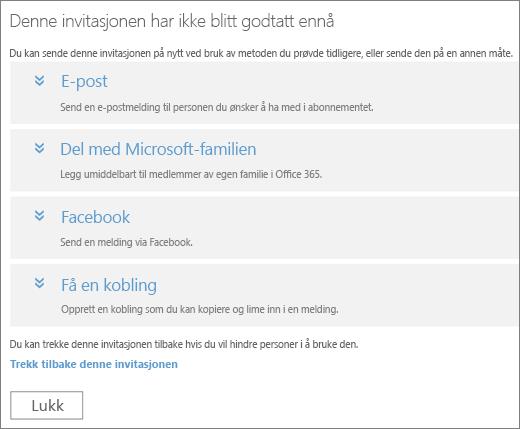Skjermbilde av dialogboksen for en ventende invitasjon med alternativer for å sende en kobling på nytt via e-post, Microsoft Family, Facebook eller en tilpasset kobling, og en kobling for å trekke tilbake invitasjonen.