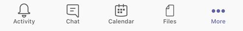 Fanene for aktivitet, tekst samtaler, kalender, filer og mer i Teams