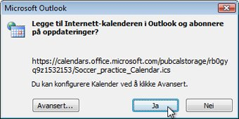 Dialogboks for alle Internett-kalendere som skal legges til i Outlook