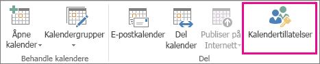 Knappen Kalendertillatelser i Hjem-fanen i Outlook 2013