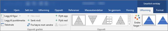 Kategoriene SmartArt-verktøy, utforming og Format