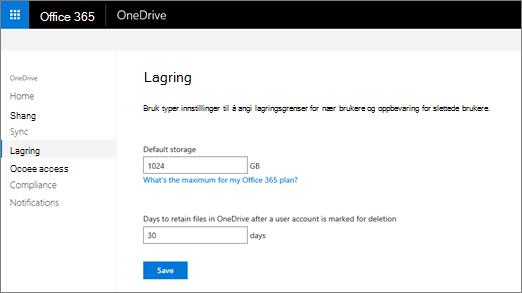 Kategorien lagringsplass i OneDrive-administrasjonssenteret