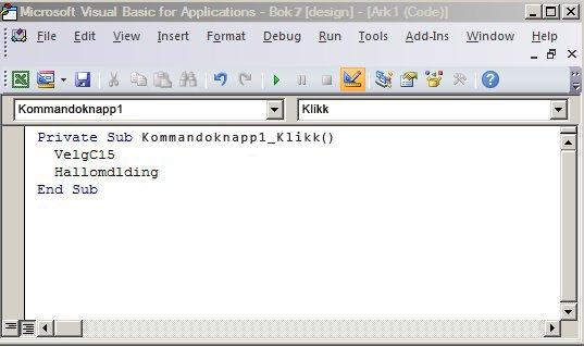 En delprosedyre i Visual Basic Editor