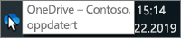 Et skjermbilde som viser at markøren holdes over det blå OneDrive-ikonet på oppgavelinjen, med teksten OneDrive – Contoso.