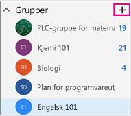 Venstre navigasjonsrute i Outlook på nett med uthevet Opprett-knapp