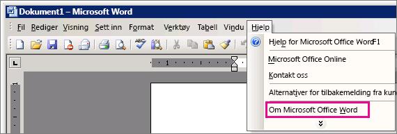 Hjelp > Om Microsoft Office Word i Word 2003