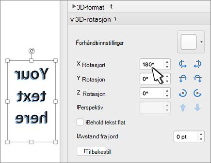 WordArt med en 180-graders rotasjon