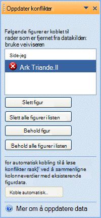 Oppdater konflikter-vinduet inneholder figurer som ikke lenger har en tilhørende rad i datakilden.