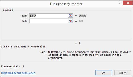 Veiviser for Excel-funksjon