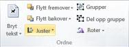 Ordne-gruppen for å justere objekter i Publisher 2010