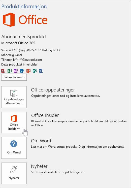Office Insider in-app i.