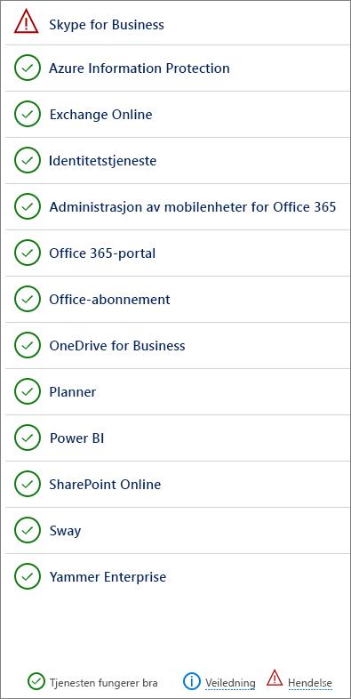 Tjenestetilstand-siden viser tjenester som har hendelser og veiledninger.