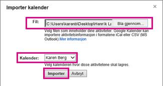 Google Kalender – dialogboksen Importer kalender