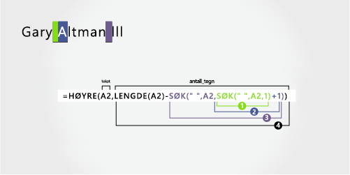 Formel for å skille et første og et etter navn etterfulgt av et suffiks