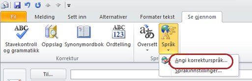 Språk for gjennomsyn på båndet i en Outlook-melding