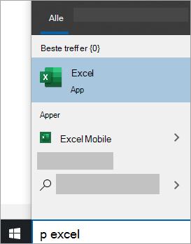 Skjerm bilde av Søk etter en app i Windows 10 Search