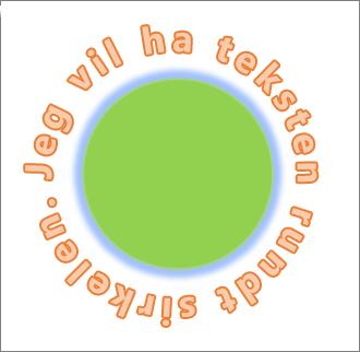 Tekst bøyd rundt en sirkelfigur