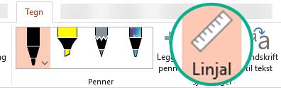Linjalsjablongen er på Tegne-fanen på båndet i PowerPoint 2016.