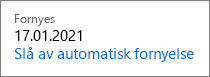 Kobling til å slå av automatisk fornyelse for et Office 365 Home-abonnement.