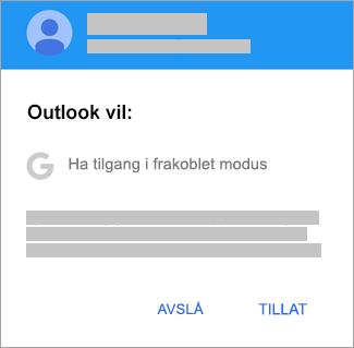 Trykk på Tillat for å gi Outlook frakoblet tilgang.