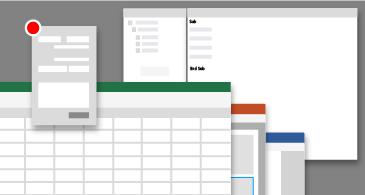 Begrepsmessig presentasjon av vinduene for Visual Basic Editor i ulike apper