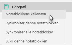 Viser teamets notatblokk med notatblokkens kallenavn valgt