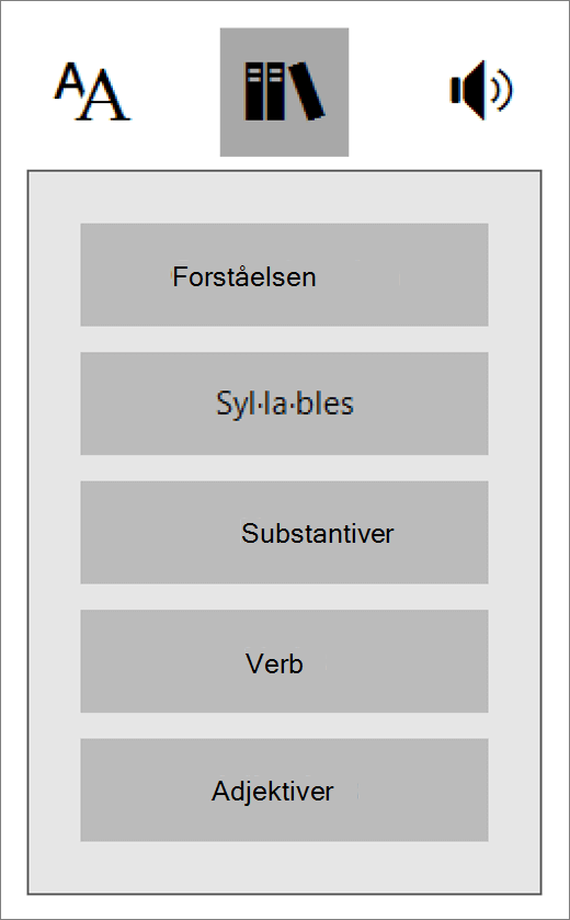 Deler av tale-menyen i engasjerende Reader som er en del av læring verktøy for OneNote.