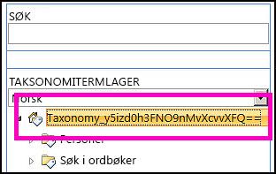 Et skjermbilde av trevisningen i verktøyet for behandling av termlager der navnet på taksonomien og de underordnede mappene vises.