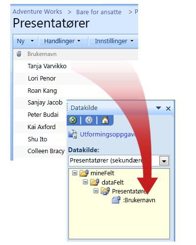 Relasjonen mellom den eksterne datakilden og datakilden i skjemamalen.