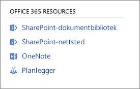 Skjermbilde som viser Office 365-ressurser