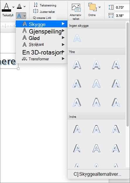Alternativer for WordArt-skygge