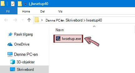 Dobbeltklikk på lwsetup.exe for å starte installasjonen av LiveWeb-tillegget.